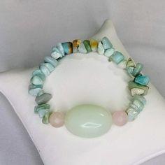 Gemstone Bracelets, Gemstone Jewelry, Release Stress, Chakra Balancing, Rose Quartz, My Etsy Shop, Gemstones, Crystals, Check