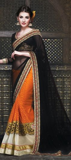 145550, Party Wear Sarees, Embroidered Sarees, Net, Faux Georgette, Stone, Zari, Border, Machine Embroidery, Resham, Black and Grey, Orange Color Family