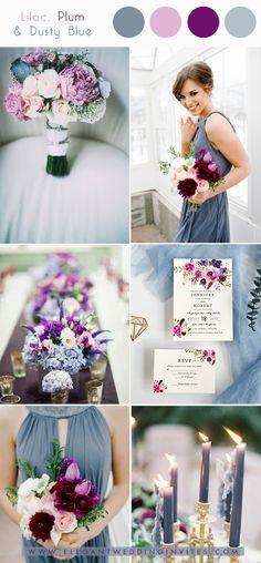 Lilac, plum and dusty blue vibrant spring wedding colors # blue # lilac wedding colors # plum - Early Spring Wedding, Dream Wedding, Wedding Day, Trendy Wedding, Elegant Wedding, Wedding Reception, Wedding Mood Board, Garden Wedding, Wedding Bands
