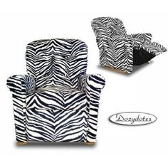 Classic 7 Button Chair Recliner in Zebra Micro Suede Fabric