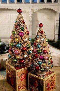 """Bethany Lowe ""Christmas Jewel Tone Newly Crafted Bottle Brush Trees . Set of 2 . Made in China."