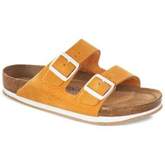 Birkenstock Flatbed Sandals - Arizona Sfb Sport ($170) ❤ liked on Polyvore featuring shoes, sandals, orange, sports shoes, birkenstock footwear, sporting shoes, sport sandals and orange sandals