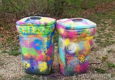 Spray painting a trash can with chalk paint and stencils. Though this wouldn't work for our trash cans, each one (trash, recycling & green waste) is assigned a color by the city and belong to the city. It is a great idea for other outdoor containers.
