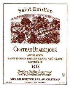 Chateau Beausejour Saint Emilion 1976 Wine Label