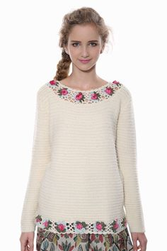 Beige Floral Knit Sweater