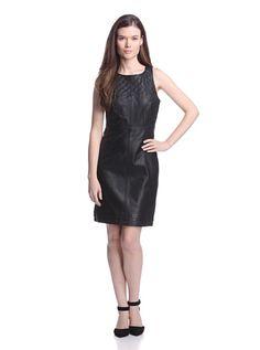 W118 by Walter Baker Women's Jeffery Quilted Leather Dress (Black)