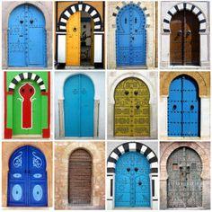 Faith Beyond Words: Brightly Coloured Arched Doors, Hammamet, Tunisia Arched Doors, The Doors, Entrance Doors, Doorway, Windows And Doors, Cool Doors, Unique Doors, Jeddah, When One Door Closes