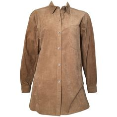 Bill Blass Brown Ultra Suede Button Up Blouse Size 12. | From a collection of rare vintage blouses at https://www.1stdibs.com/fashion/clothing/blouses/ @1stdibs #BillBlass #1970s #ultrasuede #fashion #vintage #blouse #top #forsale #shopping #style #luxury