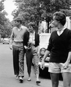 Jack Kennedy & Jacqueline Bouvier walking together, ca. 1952