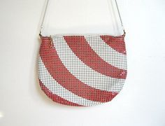 SOLD / #Vintage 1980s Red & White Striped / Metal Mesh Purse by VelouriaVintage, $20.00 #vintage