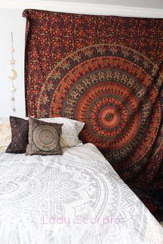 Boho Bedroom Inspiration | Zorah Tribe Mandala Tapestry by Lady Scorpio | Shop Now LadyScorpio101.com | @LadyScorpio101 | Photography by Luna Blue @Luna8lue | Featurinf Silver Gypsy Duvet & Pillows by Lady Scorpio