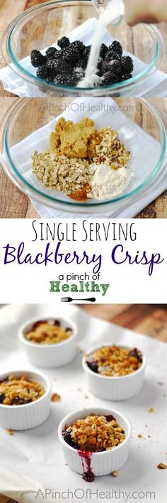 Serving Blackberry Crisp This single serving blackberry crisp is so tasty, warm and comforting. And you'll be surprised at how easy it is to make! Healthy Desserts, Just Desserts, Delicious Desserts, Yummy Food, Healthy Recipes, Top Recipes, Healthy Dishes, Yummy Eats, Summer Recipes