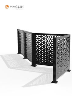 FLEXX Panels are from laser cut 11 gauge mild steel and can be connected at 90 or 135 degree angles. Create a patio enclosure or rooftop screen, or define your public or private space to ensure safe distancing.   #lasercut #privacypanels #terrace #cafepatio #patiodesign #rooftopdesign #covid19resource Rooftop Design, Patio Design, Outdoor Privacy Panels, Patio Enclosures, Steel Panels, Decking, Outdoor Rooms, Furniture Projects, Home Collections