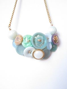 HOLLY Pastel Necklace Vintage Buttons Bib by PaperBureaucracy, £18.00