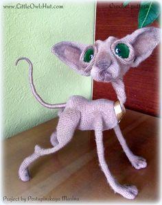 Project by Postupinskaya Maria. Crochet pattern Cat Sphinx Findus by Svetlana Pertseva fot LittleOwlsHut #LittleOwlsHut, #Pertseva, #Cat, #CrochetPattern, #Amigurumi, #CatSphinx, #Kitty, #Kitten, #DIY