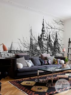 Prague Castle wall mural, Pixersize. This would look so cool. I want to do a really intricate mural of a city street view in my future home, it looks so beautiful. either in abstract color or black and white