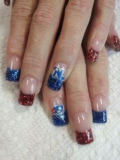 Do you love the New England Patriots? This fun nail design will shout it loud this coming Super Bowl! #PMTSLife #PMTSCleveland #football