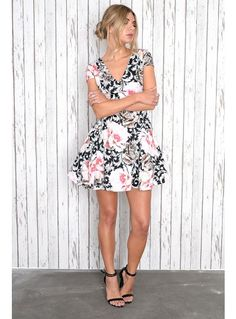 Black and pink baroque rose print prom dress