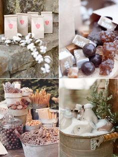 A candy buffet included chocolates and caramels, which guests could take home in little paper bags. There were also small glass bottles of root beer milk Read more at http://snippetandink.com/rustic-elegant-winter-wedding/#0pjpIfdw47qeyGQf.99