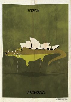 """Image 26 of 27 from gallery of ARCHIZOO: Illustrated Architectural """"Animals"""" from Federico Babina. Photograph by Federico Babina Tour Eiffel, Jorn Utzon, Jaguar, Creators Project, Ancient Greek Architecture, Famous Buildings, Magazine Illustration, Illustration Art, Design Graphique"""