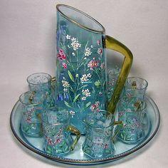 Rare 19th C. Moser 10pc. Gilt & Enameled Sapphire Blue Pitcher, Glasses & Tray