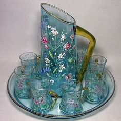 Rare 19th C. Moser 10pc. Gilt & Enameled Sapphire Blue Pitcher, Glasses & Tray