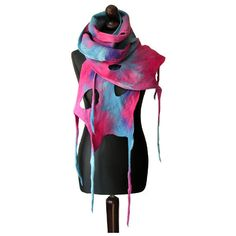 Felted scarf felted collar felt scarf pink blue violet felt scarf boho... ($72) ❤ liked on Polyvore featuring accessories