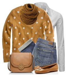 """Polk Dot Sweater"" by daiscat ❤ liked on Polyvore featuring Doublju, J.Crew, Paige Denim and Tory Burch"