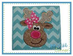 Reindeer Patch Centered Applique Design