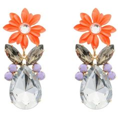 Orange Lilac Flower and Stone Drop Earrings Earrings ($15) ❤ liked on Polyvore
