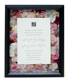 Wedding shadow box with layered flowers