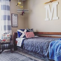 Don't ask him to live in your world, visit his world instead. -Unknown • • This room was inspired by a love of travel and a grandfather-in-law (that's a thing right?) who was a pilot for our great Nation. 🗺🛫 • • #thehomesteadhaven #boysroom #swisplus #woodsandwhiteswednesday #airplanetheme #vintageboysroom #vintageairplanetheme #rugsusa #interiordesign #homedesign #bebravelittleone #customdesign #meaningfulspaces #iamachildofgod #mycurrenthomeview #bhghome #countrylivingmag…
