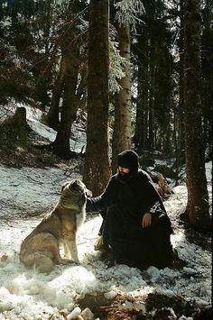 """A dog is better than I am, for he loves and he does not judge."" — Abba Xanthios, Sayings of the Desert Fathers Orthodox monk with a wolf! Peter Wohlleben, Orthodox Christianity, Orthodox Icons, Animals Of The World, Roman Catholic, Way Of Life, Kirchen, Best Dogs, Ukraine"