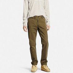 MEN VINTAGE REGULAR FIT CHINO FLAT FRONT PANTS, OLIVE, medium