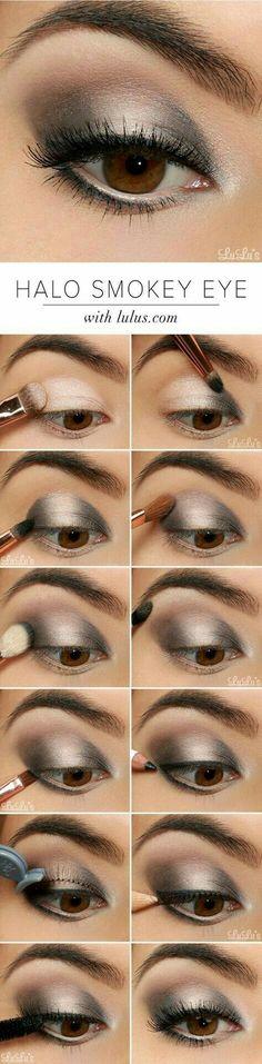 Silver make up brown eyes