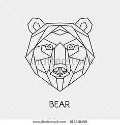 Vector. Abstract polygon the head of a bear. Geometric line animal.