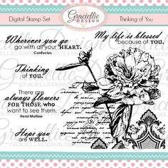 Thinking of You - Digital Stamp Set by Graciellie Design / May 2016 Release