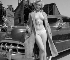 Marilyn and her 1952 Pontiac (she owned it for many years)