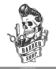 Vintage Monochrome Barbershop Vector Design of a Skull with a great hairstyle. Super quality & editable text! CLICK on the link to find more awesome barbershop elements,  and designs.#vectorillustration #vector#illustration #design #dgimstudio #barber #barbershop#hairdresser #razor #hipster #skull#hairstyle #mustache #stylish Beauty Salon Interior, Beauty Salon Design, Salon Interior Design, Best Barber Shop, Barber Shop Decor, Interior Design Color Schemes, Interior Design Images, Barber Logo, Tatoo Art