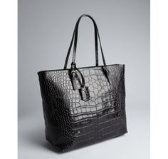 Furla black croc embossed leather 'New Shopper' tote