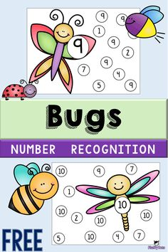 If you are looking for bugs themed printables for number sense, grab our our Bugs Number Recognition Printables. Free Preschool, Preschool Themes, Preschool Printables, Preschool Worksheets, Learning Numbers Preschool, Toddler Preschool, Free Printables, Insect Activities, Preschool Activities