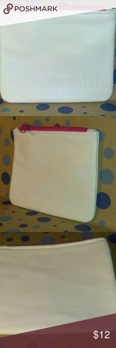 """Darling Vintage cabi Pink Zipper Carryall Bag ♥ Neat vintage leather look purse size makeup tote, jewelry bag, vitamin keeper or girls night out wallet! Brand new in plastic bag (have 3) check my closet if you want one for yourself and one to share ♥ Bright white, pink zipper - 6"""" x 7"""" in size.   These were available to cabi stylist for award prizes and/or later sold as hostess gifts. Grab this cutie up, these are no longer in production.   ♥ Please visit my closet again soon - lots of…"""