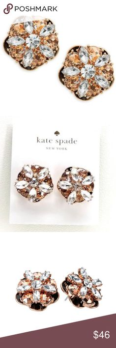 ❗️SALE NWT Kate Spade Large Flower Rose Gold Stud Gorgeous Kate Spade Fame and Flowers Studs in rose gold plated metal with black enamel detailing, clear and rose gold glass crystals.   Polished 12-karat rose gold plated metal, glass stones, epoxy stones and enamel fill.     100% Authentic Guaranteed, purchased from Kate Spade store. This pair of ear studs are larger than normal KS ones, gives you a luxurious look, great for a night out or any events. Comes with KS dust bag .🚫Lowball/trade…