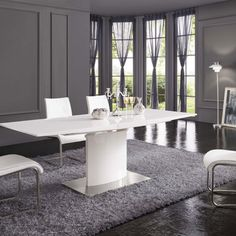 Clintock extendable dining table in white gloss with chrome base - 23779 dining tables and chairs, modern & contemporary. Glass Dining Table Rectangular, Modern Dining Room Tables, Wooden Dining Tables, Dining Nook, Dining Table In Kitchen, Extendable Dining Table, Dining Table Chairs, Wooden Tv Stands, Deco