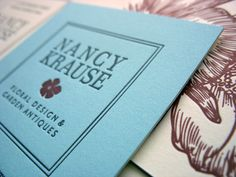 Nancy Krause Floral Design and Garden Antiques. Identity development, stationery, storefront signage and initial website designed for a floral boutique located in Lincoln Park in Chicago.