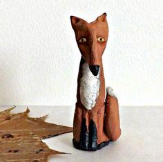 Sly Red Fox  Stoneware Ceramic  Sculpture, OOAK