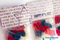 Fourth of July Printables Party Gift Bags, Party Gifts, Party Favors, And Justice For All, Bag Toppers, Time To Celebrate, Treat Bags, Holidays And Events, Fourth Of July