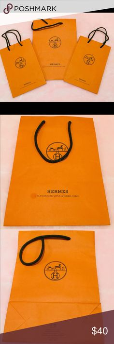 Hermes shopping bags Two small shopping bags and one medium shopping bag. Medium bag has a small stained as shown in the pictures. Hermes Other