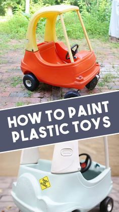 Learn how to paint plastic toys, like the Little Tikes Cozy Coupe car, plastic outdoor furniture, or even how to paint a plastic playhouse! Plus, get recommendations on the best spray paint for plastic!