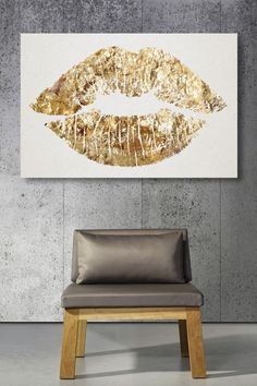 Gold Glitter Lips Canvas Art.